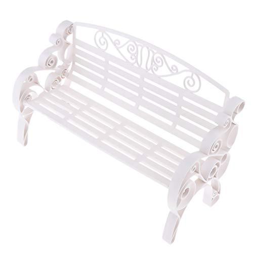 kowaku 1:6 Scale Dollhouse Miniature Furniture Plastic Garden Patio Park Bench - White, 8.66 x 3.64 x 5.51 inch