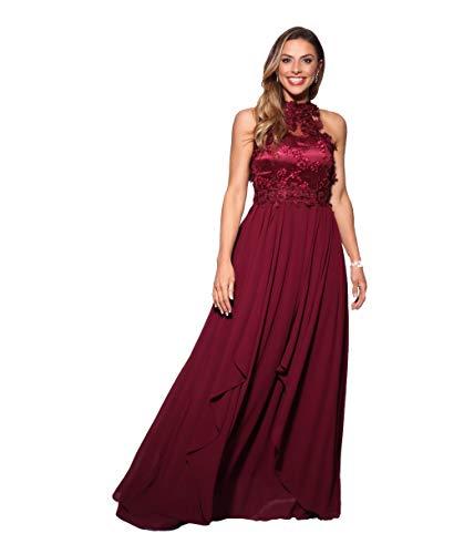 KRISP Vestido Fiesta Largo Dama de Honor Corte Imperio Invitada Boda Tallas Grandes Elegante Madrina Ceremonia, (Burdeos (4812), 48 EU (20 UK)), 4812-WIN-20