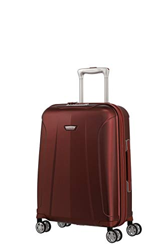 travelite 4-Rad Koffer Handgepäck mit TSA Schloss erfüllt IATA Bordgepäck Maß, Gepäck Serie ELBE: Widerstandsfähiger Hartschalen Trolley, 075547-10, 55 cm, 37 Liter, rot