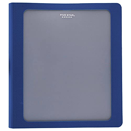 Five Star 1 Inch 3 Ring Binder, View Binder, Customizable Cover, Blue (73356)