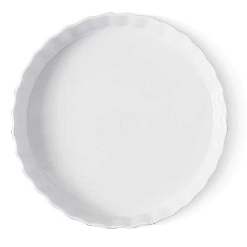 TAMUME Plato Hondo para Tartas, Molde para Hornear de Porcelana y Bandeja para Pizza, Bandeja Redonda para Tartas de Cerámica y Bandeja Estriada para Hornear Pasteles (20cm)