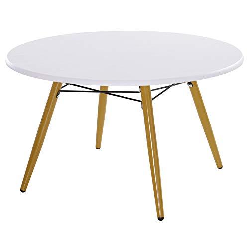 HOMCOM Table Basse Ronde Design scandinave dim. Ø 80 x 45H cm métal MDF Blanc