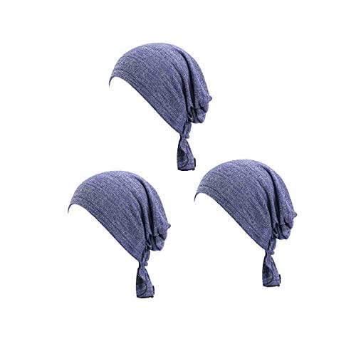 Mosako Pañuelo multifunción en 3 colores, paquete atado para la cabeza, bufanda, sombrero, estampado étnico, turbante, para mujer, elástico, flor, musulmana, a, medium