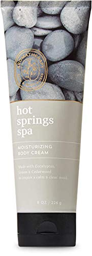 Bath and Body Works Body Care Aromatherapy Moisturizing Body Cream w/Essential Oils - 8 oz Many Scents (Hot Springs Spa - Eucalyptus Lemon Cedarwood)