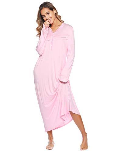 Vlazom Nattlinne damer långärmad sovklänning V-ringad mjuk mammaklänning amningsnattskjorta sovskjorta med fickor