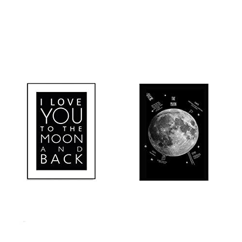 Pintura moderna de la lona de la tierra en blanco y negro, cartel de letras de amor, imágenes artísticas de pared nórdicas para decoración del hogar del dormitorio, 60x90cmX2PCS sin marco