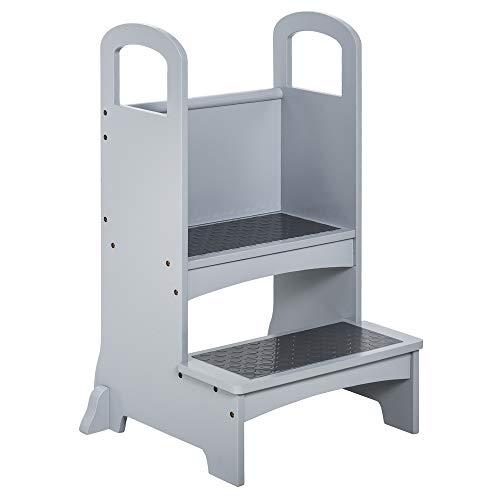 HOMCOM Lernturm Tritthocker für Küche Schemel Stehender für Küchentheke Küchenhelfer mit 2 Stufen mehr Sicherheit Grau für 3-8 Jahre Kiefer+MDF 45 x 40 x 80 cm