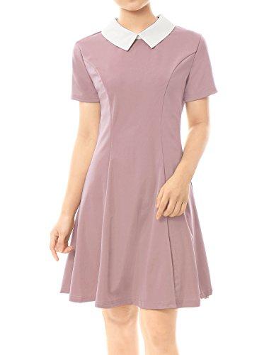 Allegra K Damen A Linie Kurzarm Panel Bubikragen Minikleid Kleid Rosa XS(EU 34)