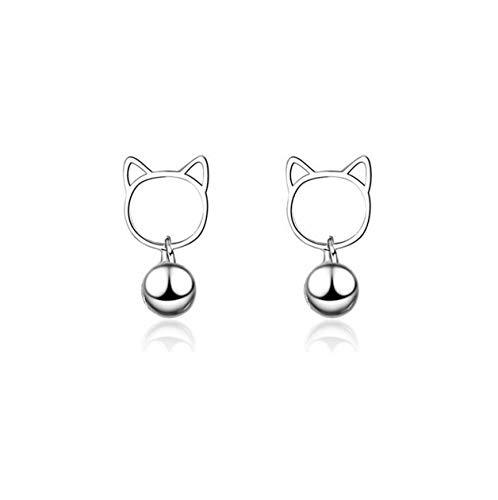 Yikoly dames oorbellen zilver 925 eenvoudige kleine kat met bel mode oorstekers studs voor dochters moeder vrouw vriendin