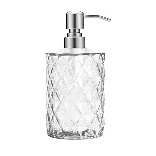 Newthinking 12 Oz Glass Soap Dispenser, Hand Soap Dispenser with Stainless...