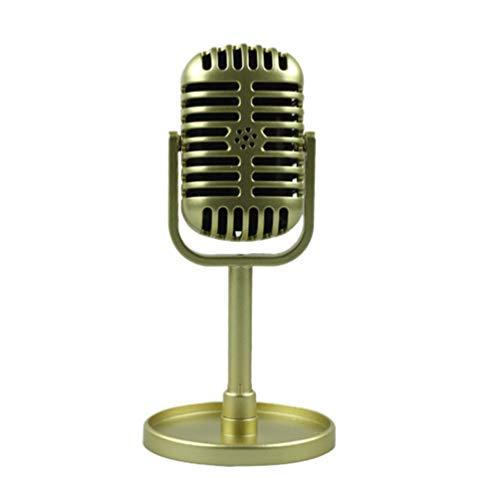 STOBOK Micrófono Vintage Modelo de micrófono Escenario de Juguete micrófono Retro decoración de Mesa Juguete de simulación para niños (Dorado)
