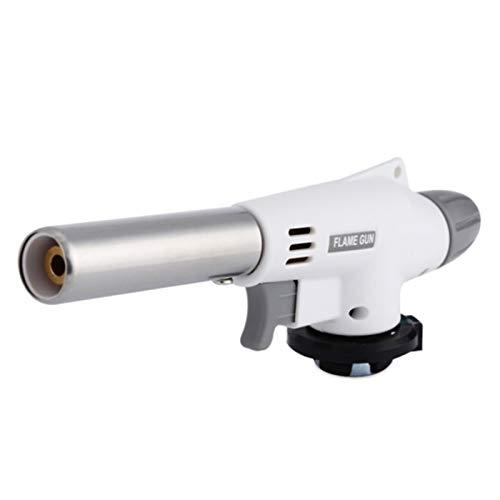 FXBXYLQ Duradero Ajustable Metal portátil Encendedor Llama Pistola Auto lanzazo Barbacoa calefacción Encendido butano Camping Soldadura Gas antorcha para Creme Brulee, Cocina, Cocina (Color : White)