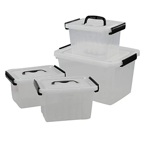 Utiao Plastic Bin with Lid, Latching Box (12 Quart, 3 Quart)