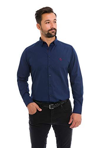 Camisa Social Masculina Slim Terno Gravata Várias Cores (marinho, PP)