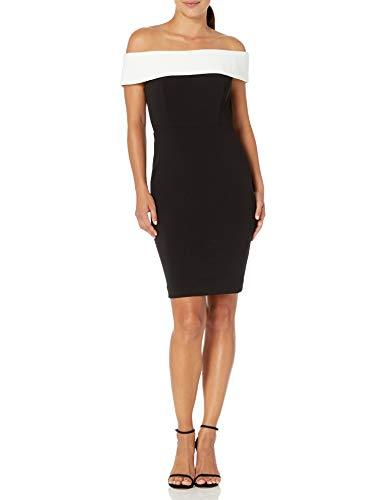 Calvin Klein Women's Seamed Off The Shoulder Dress, Black/Cream, 6 Petite