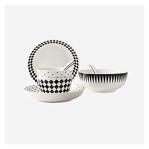 Vajilla de cocina Platos Vajilla y vajilla de cerámica Juegos de platos de cocina de 10 piezas, Servicio para 2, Juego de platos de patrón geométrico, Platos, Tazones y platos de refrigerio Platos par