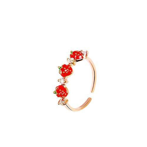 anillo ajustable apertura mujer niña diamantes de imitación fruta dulce rojo fresa abierta ajustable dedo anillos para mujeres niñas fiesta regalos