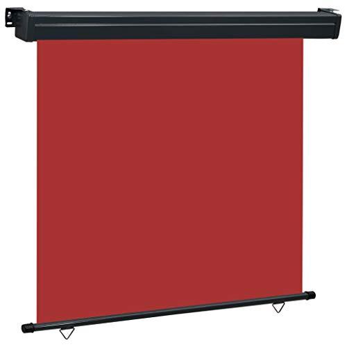 vidaXL Balkon Seitenmarkise Senkrechtmarkise Sonnenschutz Sichtschutz Windschutz Markise Außenrollo Balkonrollo Beschattung 160x250cm Rot