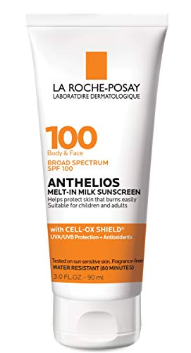 La Roche-Posay Anthelios Melt-in Milk Body & Face Sunscreen Lotion Broad Spectrum SPF 100, Oxybenzone & Octinoxate Free, Sunscreen for Kids, Adults & Sun Sensitive Skin