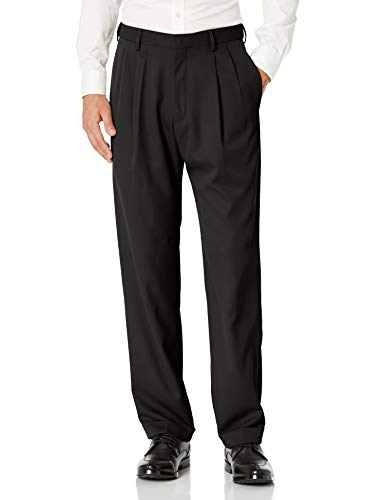 Haggar mens Mynx Gabardine Hidden Expandable Waistband Classic Fit Front Pleated Dress Pant, Black, 42x32