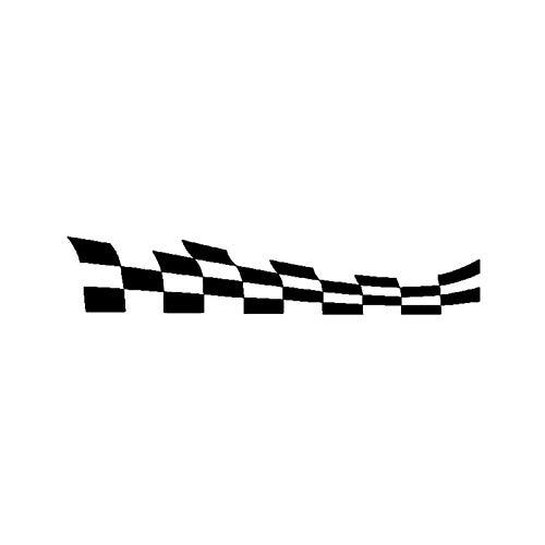 DFGDFG 20cm * 3.7cm Moda Coche Banderas a Cuadros Racing Vinyl Car-Styling Decal Negro/Silver Etiqueta engomada (Color Name : Black)