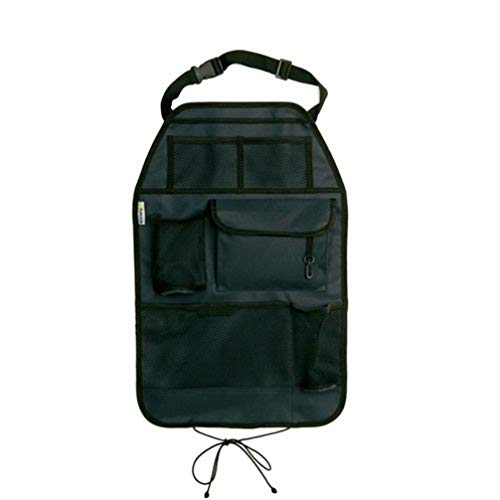 Hauck Cover Me Deluxe Rückenlehnenschutz/Rücksitzschoner, für Autositz, Trittschutz mit Rücksitz-Organizer und Getränkehalter, grau