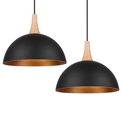 DECKEY Lámpara de Techo Luz Colgante Kit de 2 Unidades 1.2M Retro Metal Lámpara E27 para Dormitorio Restaurante Cafetería y Bar Decoración Industrial [Clase de Eficiencia Energética A+]