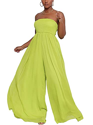 Women Cute Jummpsuit Comfortable Strapless Tight Tops Slim Waisted Maxi Palazzo Pants One Piece Jumpsuit Lounge Green M