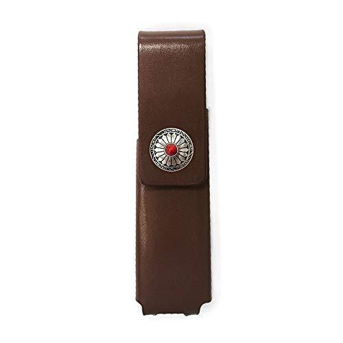 IQOS 3 MULTI 専用 アイコス3 コンチョ 本革 マルチ ケース (ブラウン/ネイティブコンチョ08) iQOSケース シンプル 無地 保護 カバー 収納 カバー 電子たばこ 革