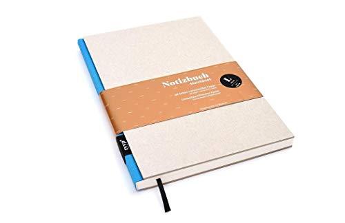 Notizbuch A5 hardcover | handmade in Germany | Skizzenbuch A5 blanko | Journal A5 | Blau tyyp | nachhaltige Notizbücher | Öko-look Natur-Design