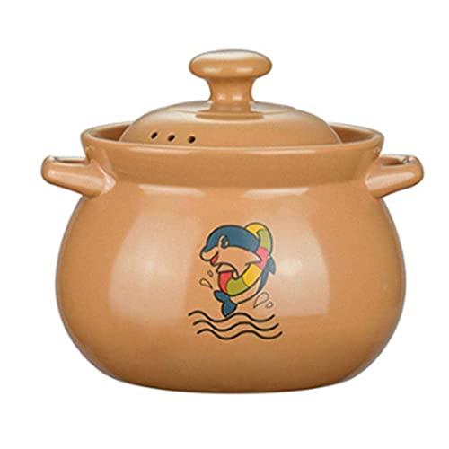 Casseruola in terracotta pentola di ceramica Casseruola pentola di argilla domestica Casseruola aperta fiamma resistente alle alte temperature Crock Pot-5.5L Cottura