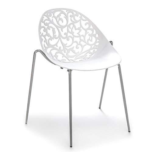 Tomasucci Sedia eura in Metallo e ABS Bianco Set 4 sedie