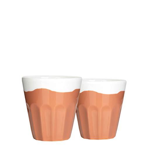 Mahlwerck Porzellan Espressotassen, Espresso-Becher Caramel Candy-Look, weiß braun, 100ml, 2er Set