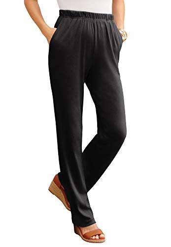 Roamans Women's Plus Size Petite Straight-Leg Soft Knit Pant Pull On Elastic Waist - 1X, Black