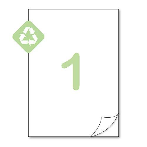 Gluetack–Etiquetas Adhesivas de Papel 100% Reciclado A4 (210 x 297mm)–Pegatinas para Imprimir con Adhesivo Permanente y Fácil Despegado–25 Folios Adhesivos–1 Etiqueta/Hoja–25 Etiquetas