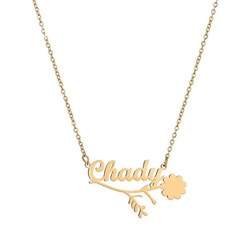 JIAQINGRNM Collar de acero inoxidable con nombre de letra inglesa, cadena de clavícula, día de San Valentín, cumpleaños