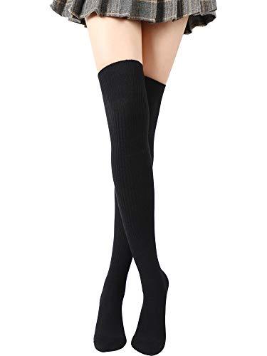 SATINIOR Über Knie Lange Socken Oberschenkel Hohe Socken Zopfmuster Langer Stiefelstrumpf Beinwärmer (Schwarz)
