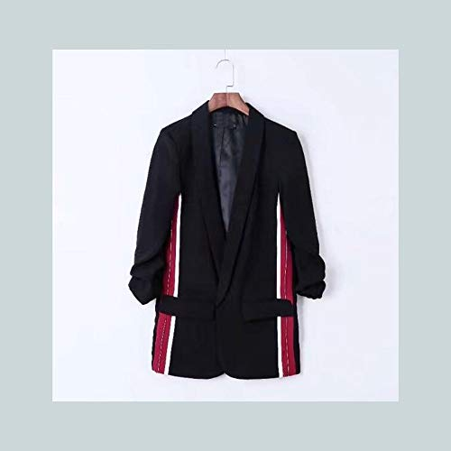 WJMM Damen Blazer Mit Schalkragen Mit Schärpen Drucken Blazer Frau Taschen Schärpen Anzug Jacke Oberbekleidung, L