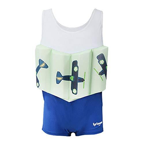 Gogokids Badpak voor jongens, eendelig, voor kinderen met zwembojen, mouwloos, float suit badpak met zwemvest