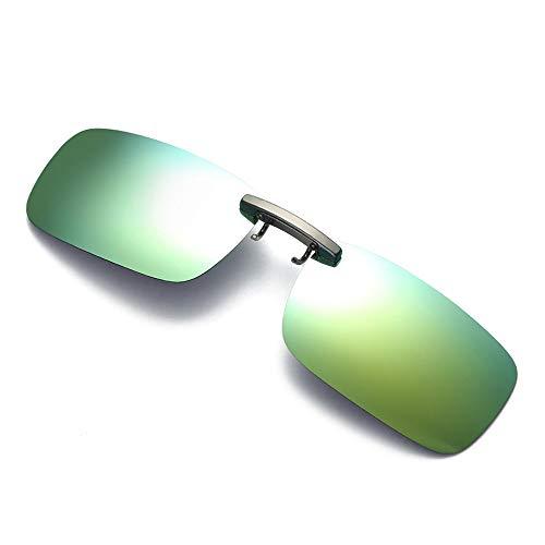 Dorical Unisex Brille, Damen Herren Abnehmbare Nachtsicht-Objektiv Fahren Metall polarisierte Klipp auf-Glas-Sonnenbrille Sale(Gold)