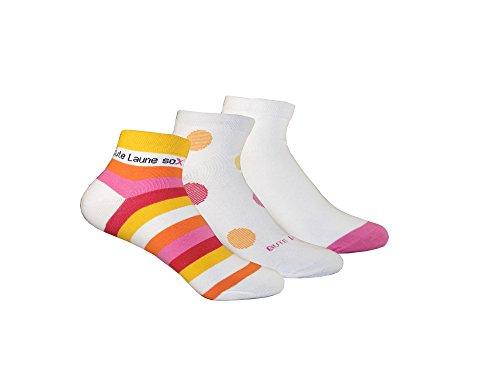Trichter kurze Gute Laune Socken für Damen 6 Paar - Hochwertige Frauen Strümpfe in schwarz, weiß und bunt - Damensocken Set für Sneaker, Sport und Zuhause - Füßlinge Größen 35-42 (Weiß/Rot, 39-42)