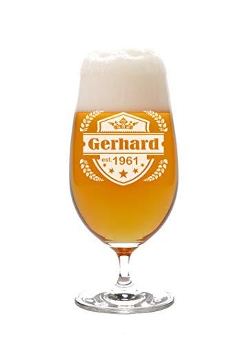 LEONARDO Pilstulpe mit Gravur Motiv Emblem II - Geschenkidee Bierglas mit Wunsch-Name graviert Vatertag