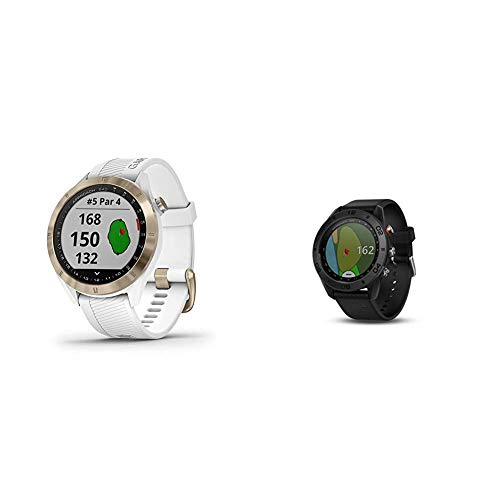 Garmin Approach S40, Stylish GPS Golf Smartwatch, White/Light Gold & Approach S60, Premium GPS Golf Watch with Touchscreen Display and Full Color CourseView Mapping, Black w/ Silicone Band
