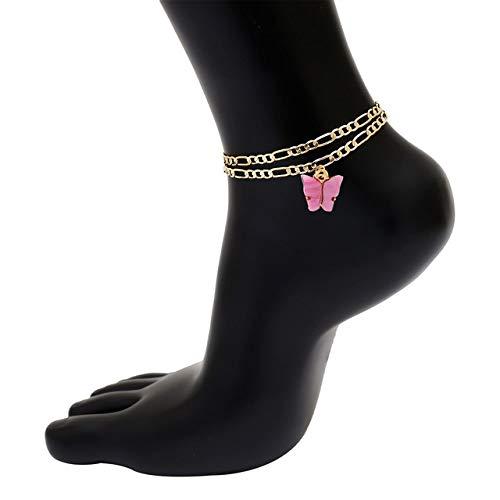 WEIYYY Moda Lindo Tobilleras de Mariposa para Mujer Tobillera Simple Pulsera de Tobillo con Cadena de Color Dorado en la Pierna 2020 joyería de pie de Playa, Rosa Rojo 2, Dorado