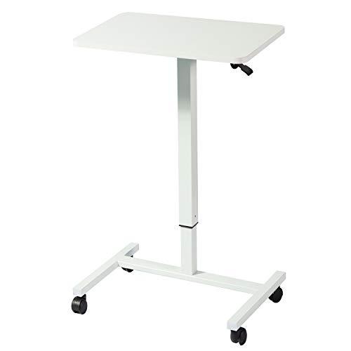 Mesa de noche neumática ajustable de 71 x 49 cm de altura para ordenador portátil, mesa de noche, sofá de pie, mesa de oficina, oficina, hogar, podio, color blanco