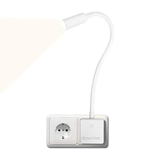 Weiß LED Steckdosenlampe Nachttischlampe Strahler Leseleuchte Dimmbar Lampe für Steckdose 3W 280Lm Neutralweiß Beleuchtung 4000K Keine Fernbedienungsfunktion 1er Pack von Enuotek