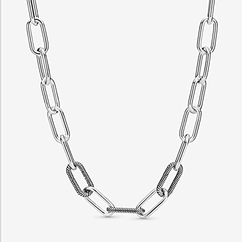 Collar Colgante Cadena Collares Hombre Mujer Collar De Plata De Ley 925, Collar con Forma De Cacerola, Patrón De Cadena De Serpiente, Brazalete De Cierre Circular, Apto para Mujer,