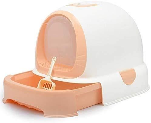 ZouYongKang Katt kull låda, täckt katt kull låda med lock, lätt ren ingen lukt husdjur jumbo kull låda, hus plast toalett box för hushållsdjur levererar söt mångfärgad (Color : 5)