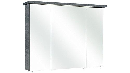 Pelipal 328 Alika spiegelkast, hout, grafiet structuur dwars reproductie, 75x72x20 cm