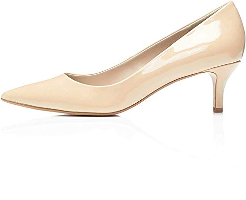 Marchio Amazon - find. Kitten Court Scarpe con Tacco Donna, Beige (Nude Nude), 38 EU (5 UK)